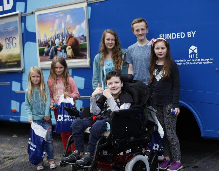 Six children outside the Screen Machine in Edinburgh