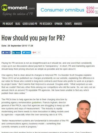 How much does PR Cost - Scott's comment in the media