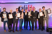 Winners of the Cafe Life Awards on stage from Award Winning PR Agency