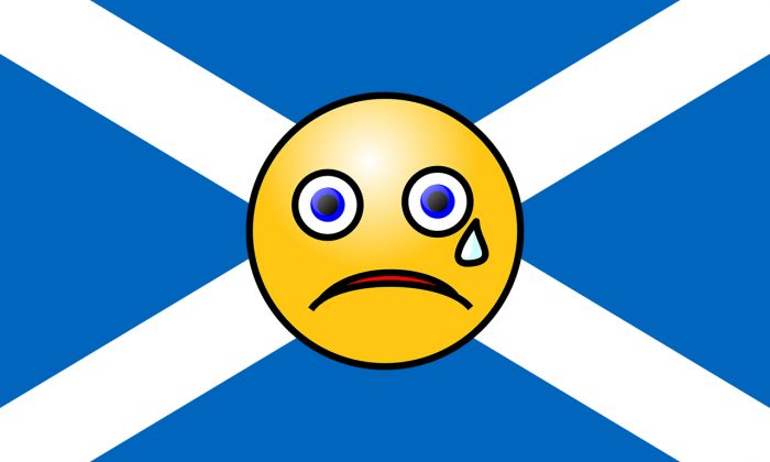 Flag for post by Digital PR. Sad Emoji over Scotland flag