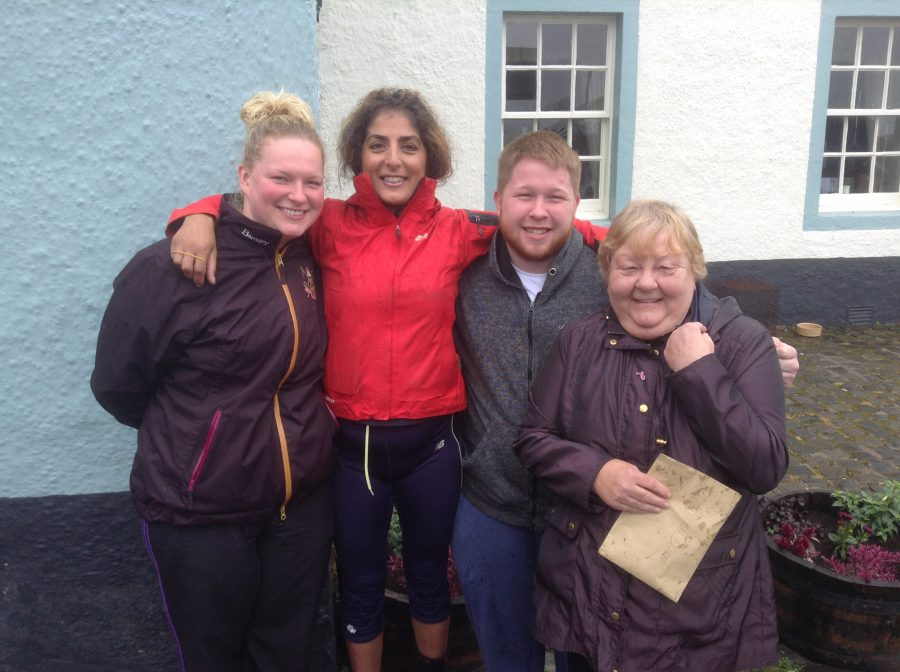Four abseilers after completing their feat from PR Consultants in Scotland