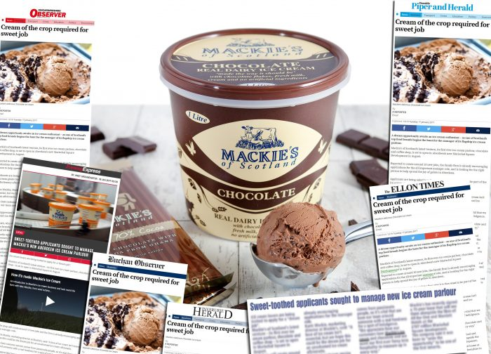 Image of Mackies Ice Cream covered with newspaper coverage used to show success of Food and Drink PR