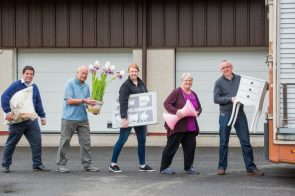 PR Photos of Claire McLoughlin, Marketing Assistant at CALA Homes (East), Lynne McNicoll, Ian McNicoll Directors of Charity It's Good to Give, Keith Robertson director at Fresh Start and Stewart Ferguson Operations manager at Fresh Start all helping to carry furniture.