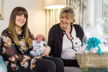 PR Photography shows CALA Homes Sales Advisor, Jenny Thomson with Louise Inglis and her baby Brodie