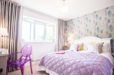 CALA Homes Kinleith Mills Pink Bedroom as shown by PR Photgraphy