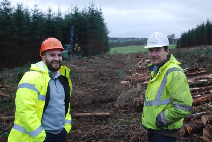 Gordon Thomson, senior project manager, Banks Renewables and Stuart Hansom, Euroforest central Scotland area manager agree to clear the Kype Muir Wind Farm Site thanks to Renewables PR.