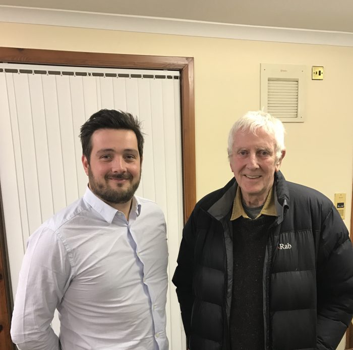 Banks Renewables Lewis Stokes and Brian Broadley, Chairman of Cronberry, Logan and Lugar Community Council agree to Lethans Wind Farm thanks to Scottish PR Agency