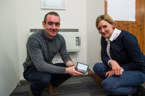Roddy and Lucy pose with the smart meter