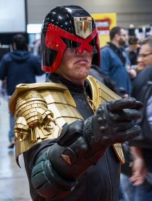 PR photography of a Judge Dredd character