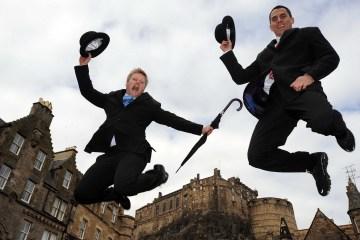 Jumping for joy in Edinburgh