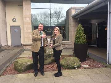 Catherine Smith receiving the cup picture for Edinburgh PR agency