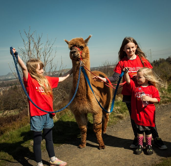 An image of three young girls in Sick Kids Friends Foundation t-shirts standing with an alpaca in the Pentland Hills