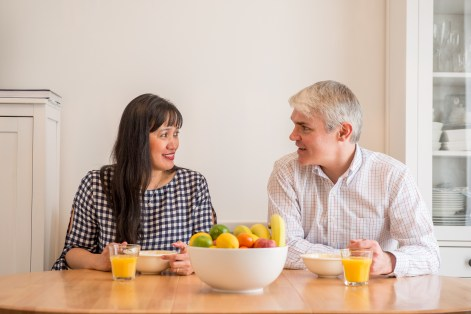 Robert and Jennifer enjoy their new breakfast table