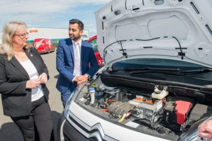 Fiona Deas shows Transport Minister Humza Yousaf the electric van Eagle Couriers are currently trialing - Scottish PR agency