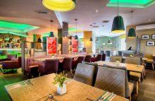 The colourful restaurant at Leonardo Hotel in Edinburgh