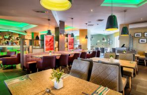 The colourful restaurant at Leonardo Hotel in Edinburgh