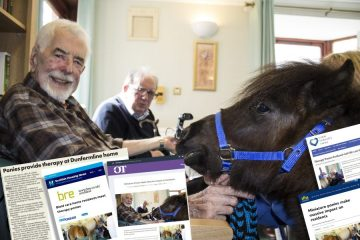 Care PR coverage with image of ponies visiting care home.