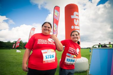 LtoR: Louisa McAllef with her daughter Hope Gilmour.11-year-old Hope Gilmour from Alloa, was told from birth there was less than 5% chance she would walk, but on Sunday 30th July 2017, she completed her first 5km run to raise money for the Edinburgh Children's Hospital Charity