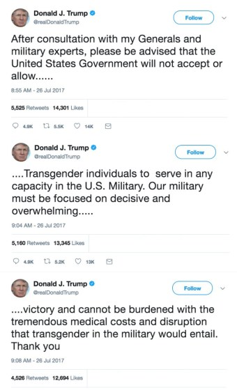 Trump tweet about transgender in the military