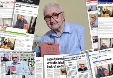 Montage of headlines for debut novelist Bill Glen, aged 96 | social care PR
