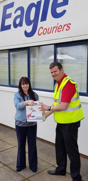 Anne McArdle collects Fife Frank from Eagle Couriers