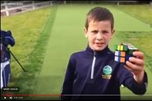 PR video of prodigy holing putt and solving rubik's cube