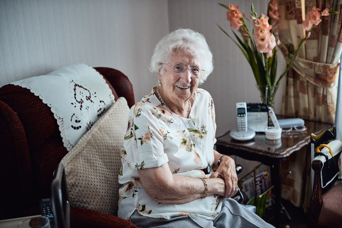 Care PR photograph of 102-year-old Jean Revie from Glasgow, who has revealed her biggest secrets to a long and happy life