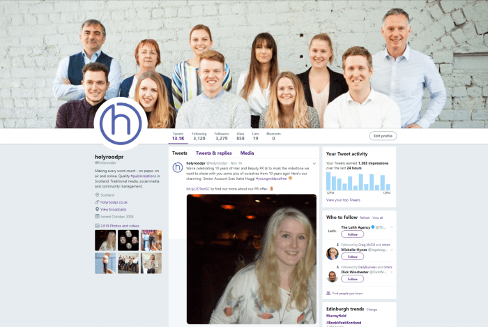 Digital PR experts Holyrood PR maintain a superb Twitter account