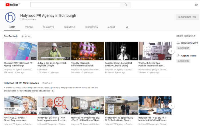 The YouTube channel of digital PR experts Holyrood PR in Scotland