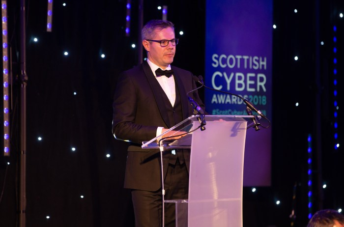 The Scottish Cyber Awards featured a speech by Derek Mackay, Finance Secretary, captured in a tech PR photo by Edinburgh agency, Holyrood PR