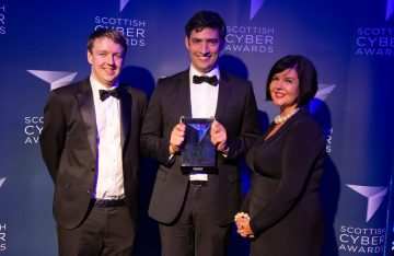 A trio of winner at the Scottish Cyber Awards captured in a tech PR photo shared on behalf of Scottish Cyber Awards by Edinburgh PR agency Holyrood PR