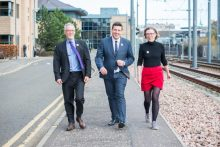 Charity PR photo of , Ian Findlay, Chief Officer at Paths for All, the Minister for Business, Fair Work and Skills, Jamie Hepburn and Lesley Glen, ICAS's Chief Operating Officer at the Walk at Work Award launch