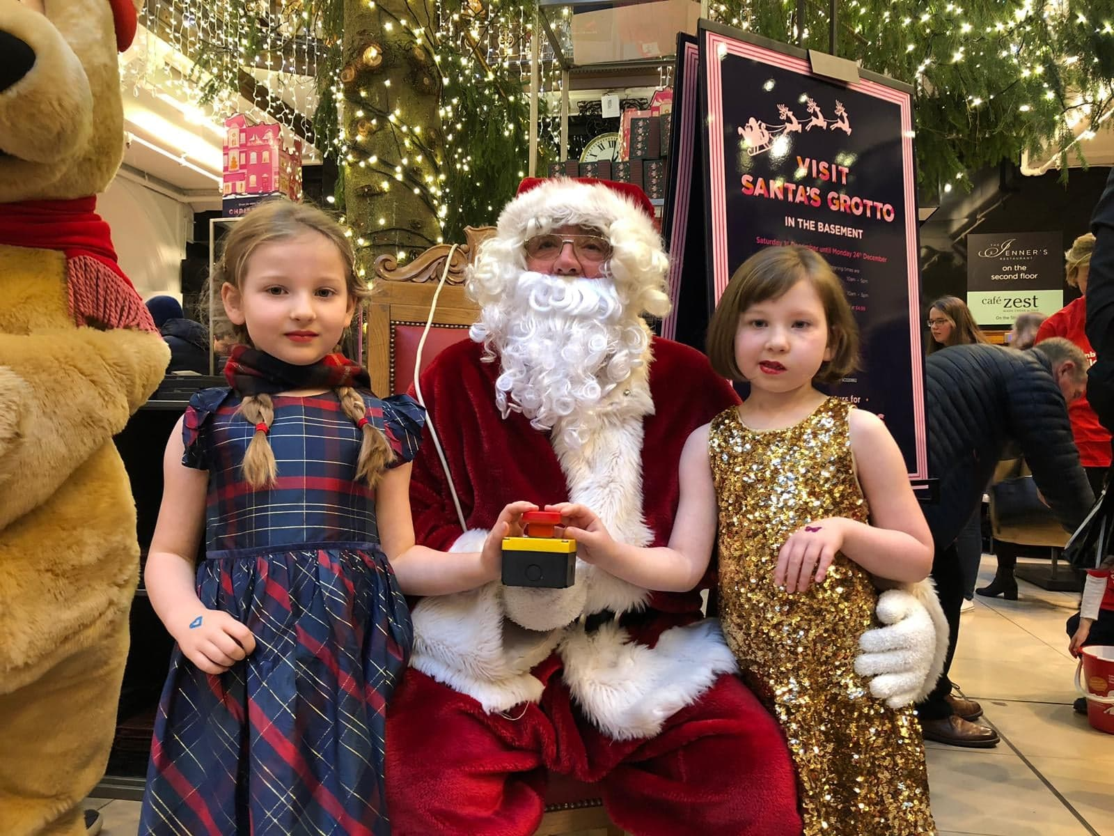 Charity PR - Poppy Rennie and Bella Rennie switching on the Jenners Christmas lights 2018
