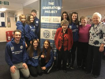 Charity PR photograph of those involved in The Generation Project, taken at Bield's Robertson Court