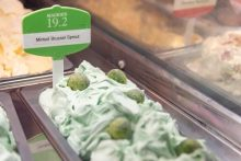 Food and drink PR photo of brussels sprout flavoured ice cream