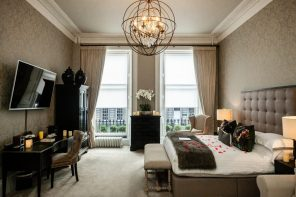 Nira Caledonia's sophisticated, romantic bedroom portrayed in a hospitality PR photo campaign