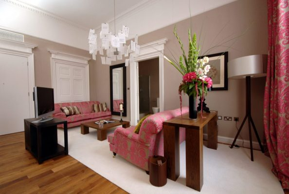 Seating and interior design of a Tigerlily suite at launch in 2006. Hotel PR photography by Holyrood PR