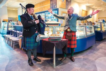 Food and drink PR photograph of a Scottish piper at Mackie's 19.2 ice cream parlour