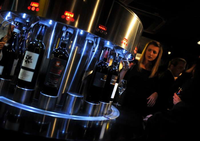 PR in Scotland A state-of-the-art dispenser at Divino Enoteca is pictured in a food and drink PR image at the launch of the wine bar