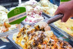 Food and drink PR photograph of Mackie's haggis and marmalade ice cream being scooped up