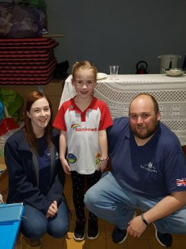 Derek Harris and Nicola Walker from Skyrora are pictured with Lexie Morgan at a tech PR event in Wales