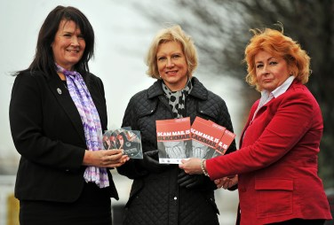 PR photography of Marilyn Baldwin, centre, of the Think Jessica campaign in memory of her mother