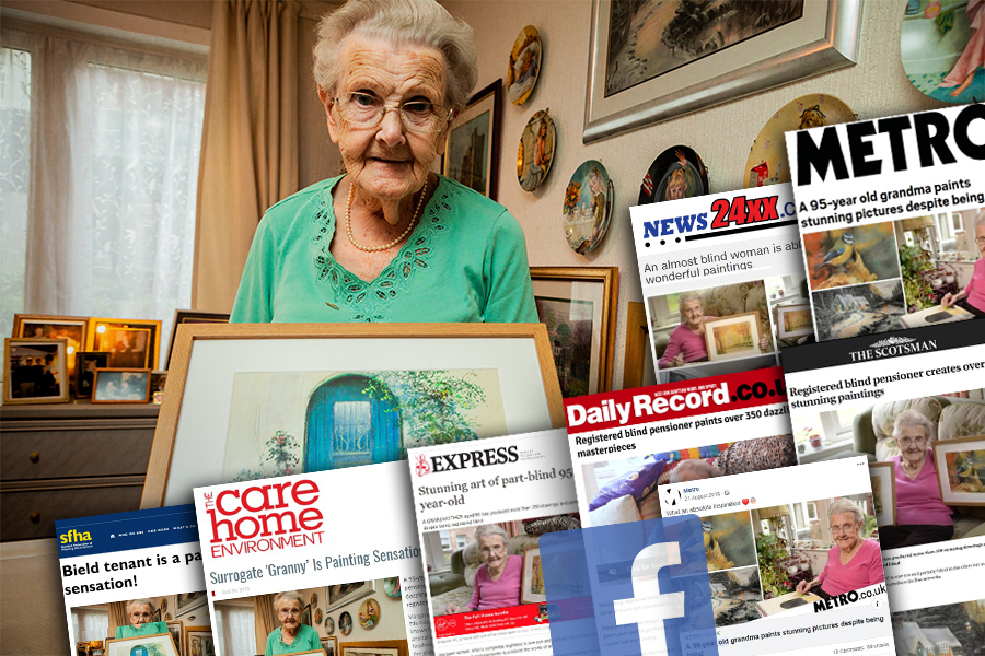 Successful PR coverage of Margaret McNeil continues her love of painting at the age of 95 - despite being registered as blind. PR photograpphy by Holyrood PR in Edinburgh, Scotland