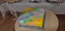 Birthday Cake for retirees celebrating the developments 20th anniversary with Scottish PR