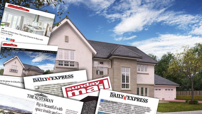 Property PR media coverage collage for CALA Homes (East) Craigpark development