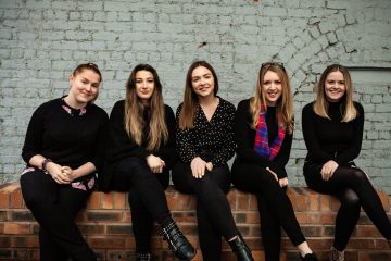 Female colleagues at Holyrood PR agency in Scotland discuss International Women's Day 2019