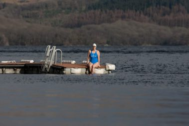 Jade Perry captured by Food and Drink PR Photography at Loch Lomond, about to enter the water