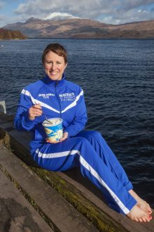 Jade Perry Captured by Food and Drink PR Photography at Loch Lomond in Scotland in her Mackie's Branded Tracksuit