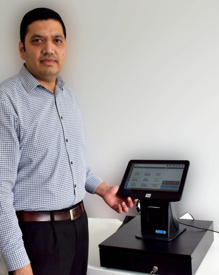 Tech PR photography of Bhas Kalangi and the ePOS Hybrid software