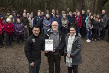 Paths for All at Evanton Community Dementia Friendly Woods with woodland visitors